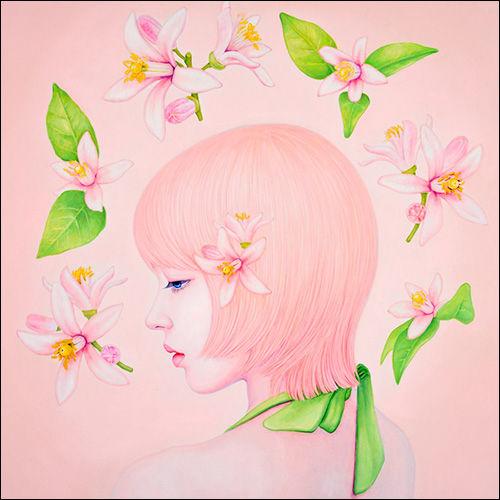 권경엽, Pink Blossom (핑크블라썸), 60X60cm, oil on canvas, 2017