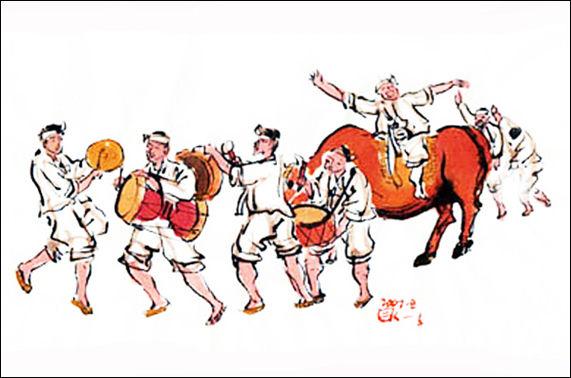백중날 농사가 가장 잘 된 집의 머슴을 뽑아 소에 태워 마을을 돌았다.(그림 이무성 한국화가)