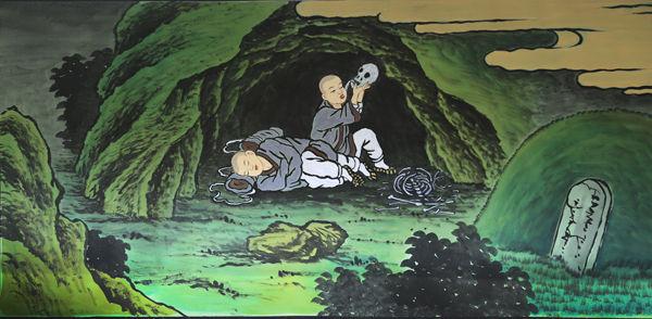 당으로 가기 위하여 당항포구 근처 토굴에서 하룻밤을 자다가 목이 말라 해골물을 먹게 된 원효와 깊은 잠에 빠진 의상