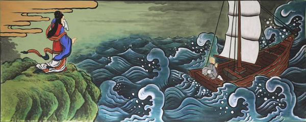 함께 갈 수 있기를 바랐지만 의상이 몰래 떠나버리자 의상대사가 떠난 바다를 향해 몸을 던지는 선묘
