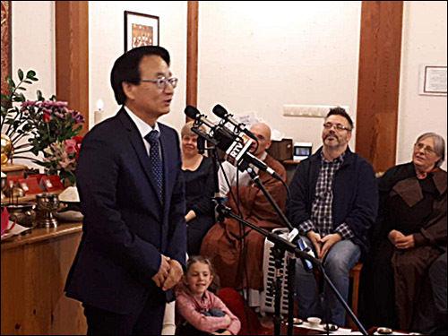 주헝가리 최규식 대사의 축사 모습
