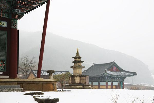 인각사 극락전 앞 삼층석탑, 석탑의 뒤로는 국사전(보각국사 일연선사를 모심)