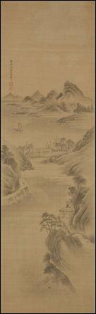 김준근 그림에 드물게 보이는 산수화, 116×35cm, 비단에 수묵, 국립민속박물관