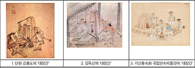 김홍도, 김득신, 김준근의 그림 '대장간' 견줌